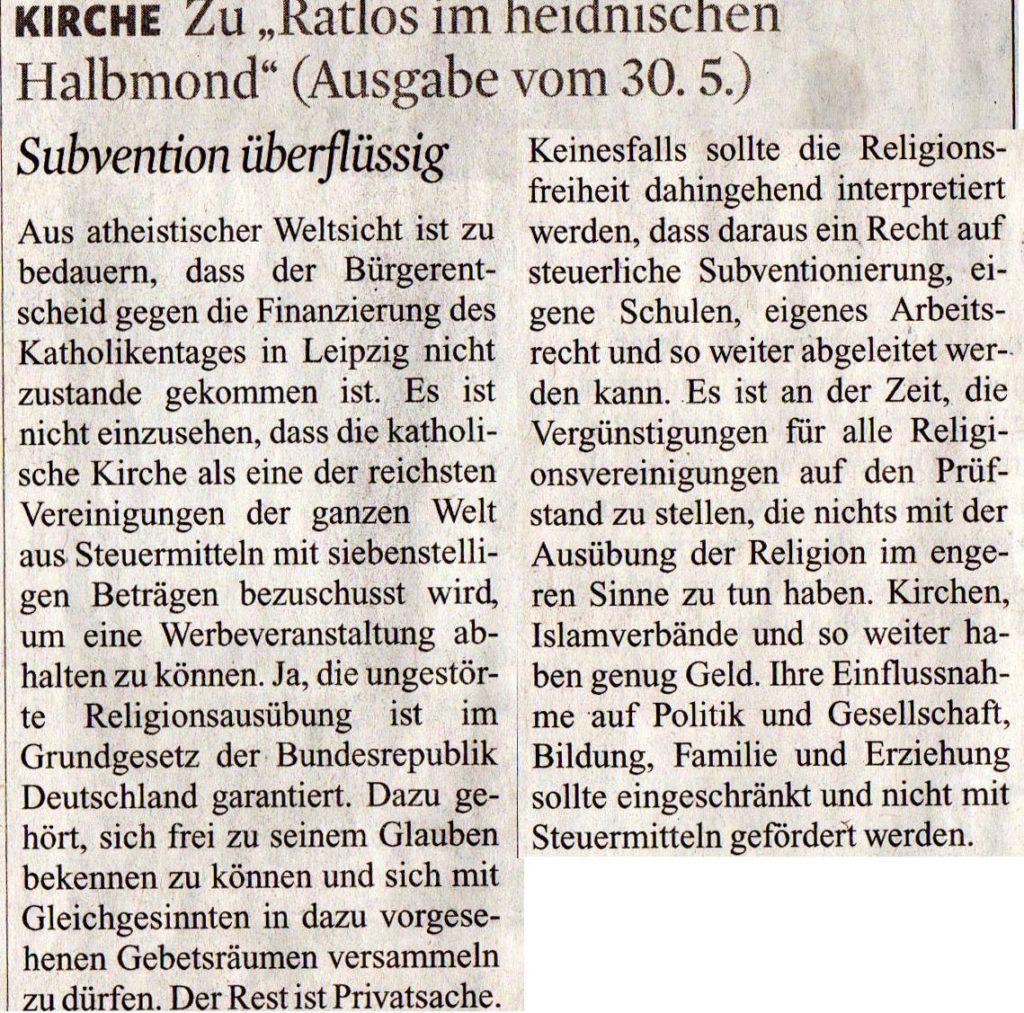 Schreiberleins Leserbrief aus dem Kölner Stadtanzeiger vom 16.06.16